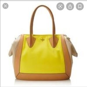 POUR LA VICTORE Tan and yellow satchel